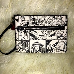 Coach x Marvel Comic Book Print Pouch Wristlet